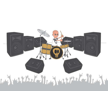live stage band drummer Vector
