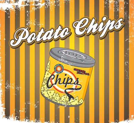 fast food art vintage chips big can Vector