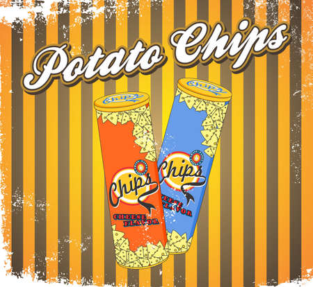 fast food art vintage chips long can Vector