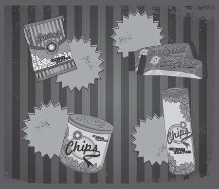 fast food art vintage silver Vector