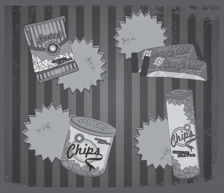 fast food art vintage silver Illustration