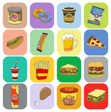 fast food art vintage button