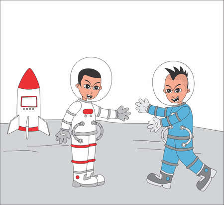 astronaut set friend Stock Vector - 20558618