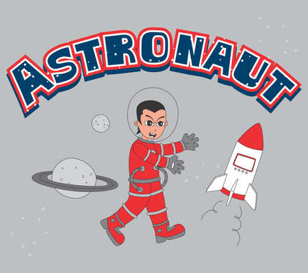 astronaut set red Vector
