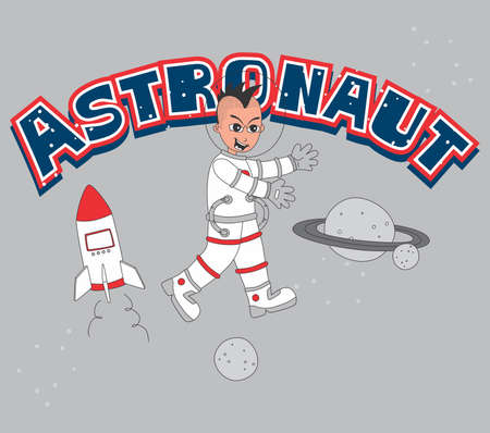 astronaut set smile Vector