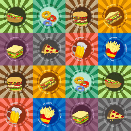 fast food all retro Vector