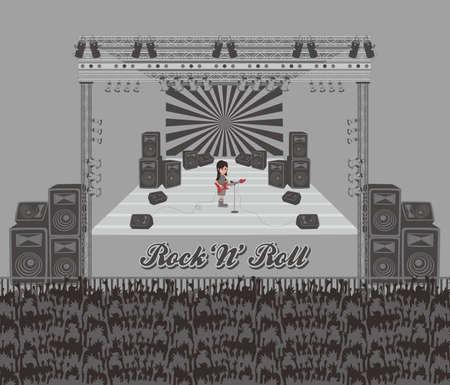 concert stage: live band single Illustration