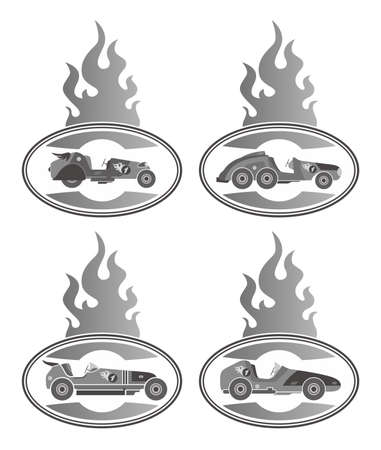 old car fire grey Vector
