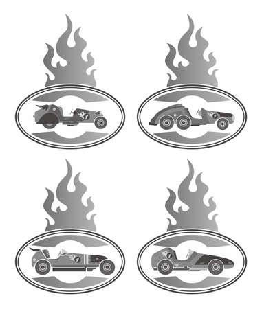 old car fire grey Stock Vector - 20558620