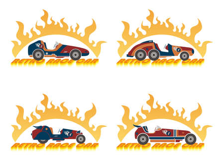 car racing art label Vector