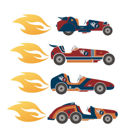 car racing art fire Vector