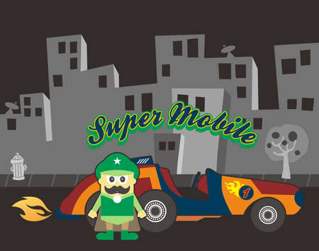 retro car cartoon guy green Vector