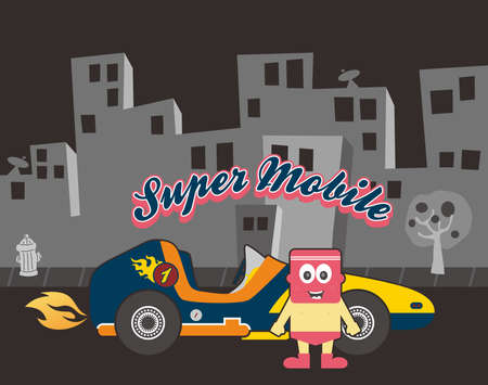 retro car cartoon guy pink Vector