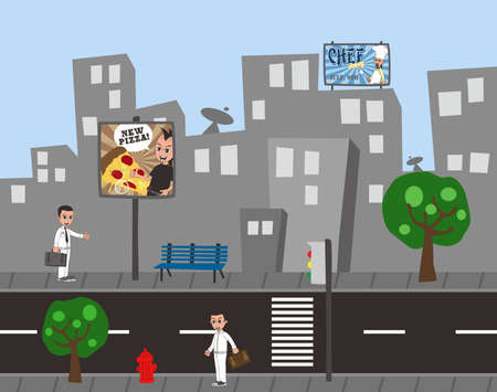 cartoon guy city view Vector