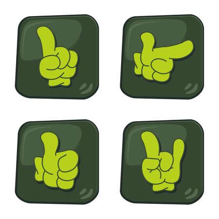 hand gesture green button Vector