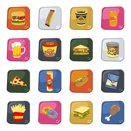 fast food all button Vector