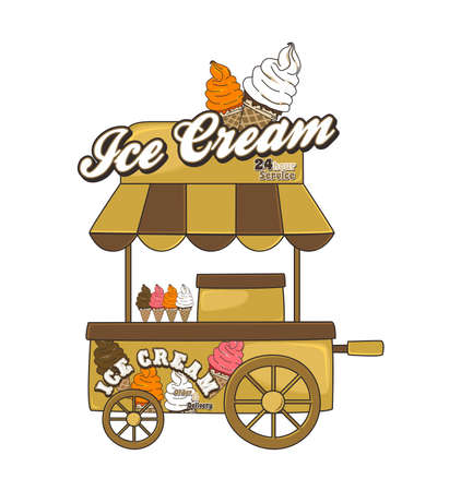 booth ice cream Illustration