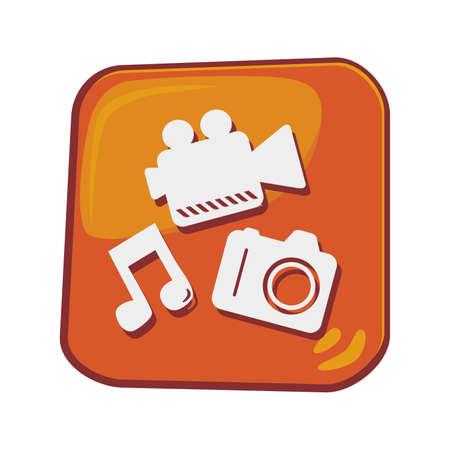 multi media: icona del telefono cellulare multimediale