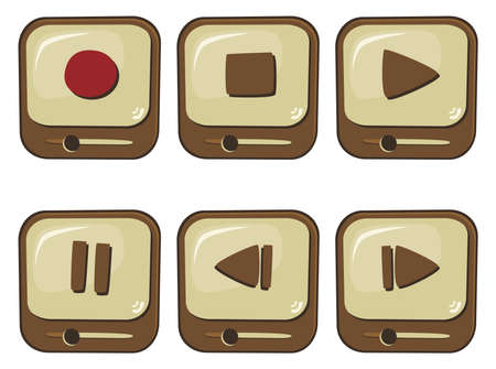 brown media button Vector