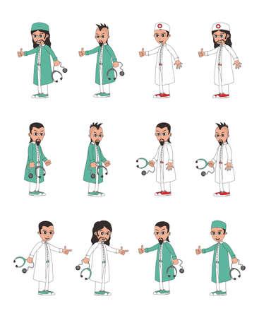 doctor tablet: doctor cartoon set