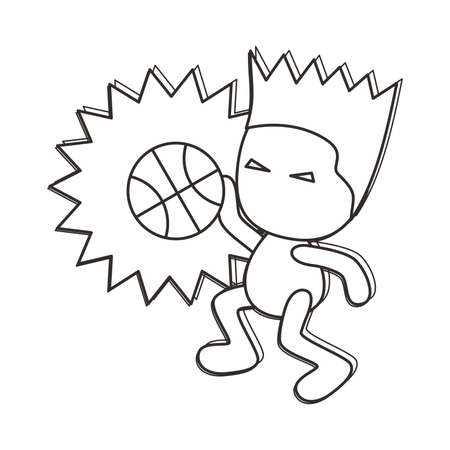 outline basketball boy Vector