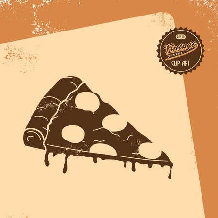 vintage pizza Illustration