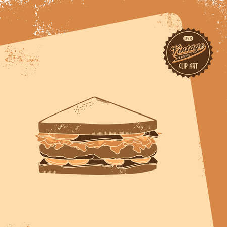 vintage brown sandwich Vector