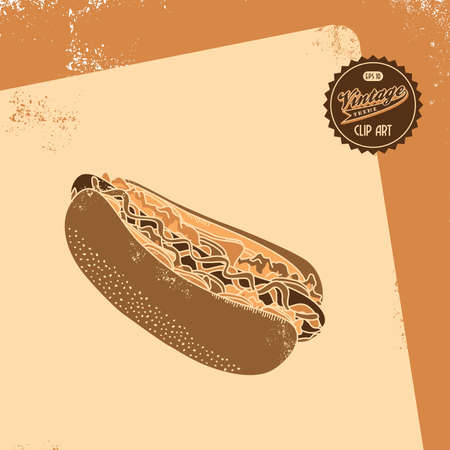 vintage brown hot dog Vector