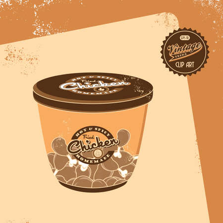 vintage brown chicken bucket Vector