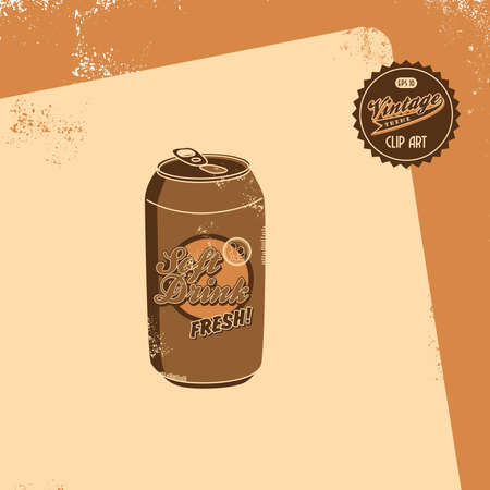 vintage brown soft drink Vector