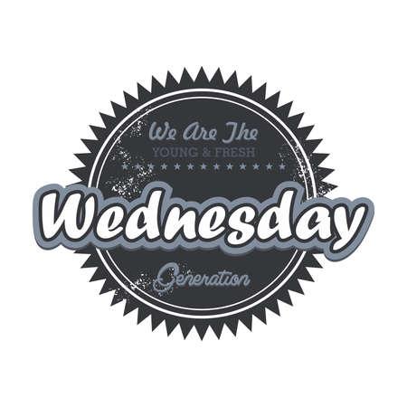 wednesday: day label wednesday Illustration