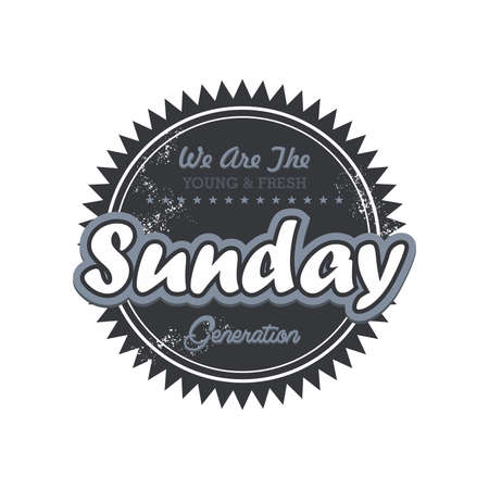 day label sunday Vector