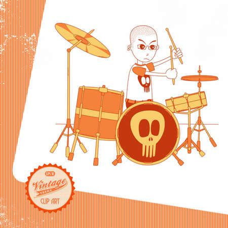 cocky: vintage page musician drummer Illustration