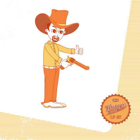 vintage page cowboy shoot Vector