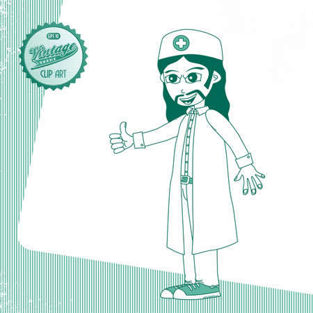 page long: vintage page doctor long hair Illustration