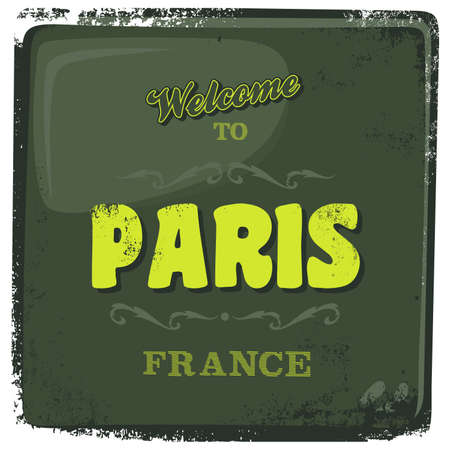 greeting sign paris Vector