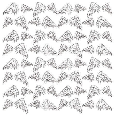 pizza line pattern Vector