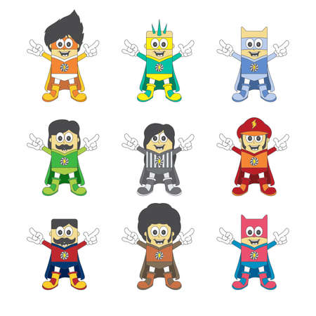 hero cartoon boy set Vector