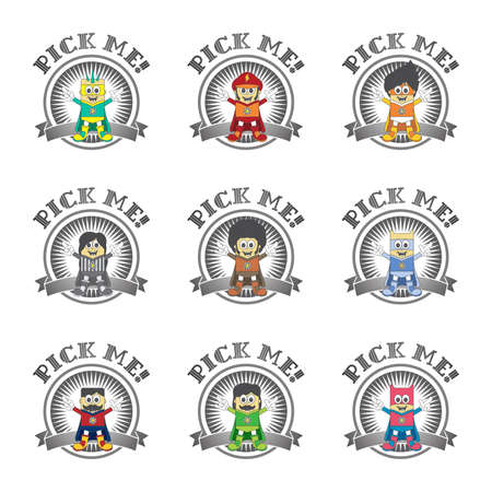 hero cartoon boy set pick Vector