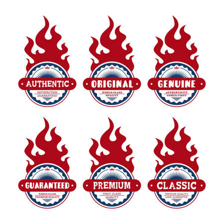 badge art all red fire Vector