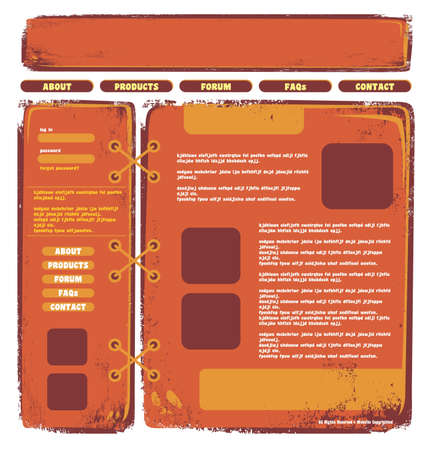 web page template orange Vector