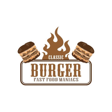 flame theme burger Vector
