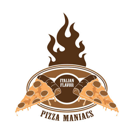 flame theme pizza Vector