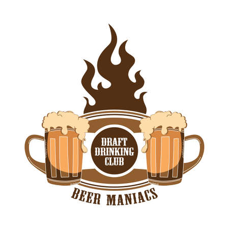 and draft beer: fire label draft beer Illustration