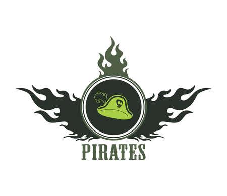 pirate label hat Vector