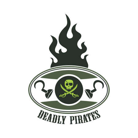 pirate label fire Vector