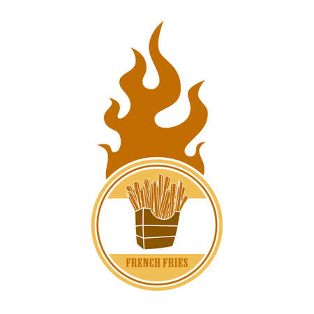 fire label french fries Vector