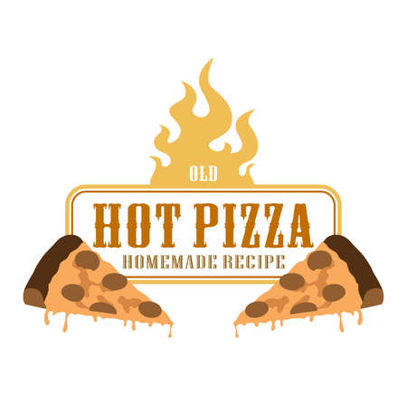 fire label pizza slice Vector