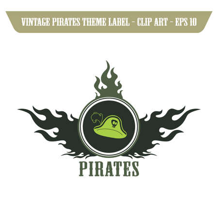 pirate captain hat label Vector