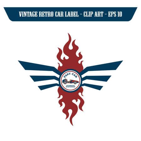 car retro label